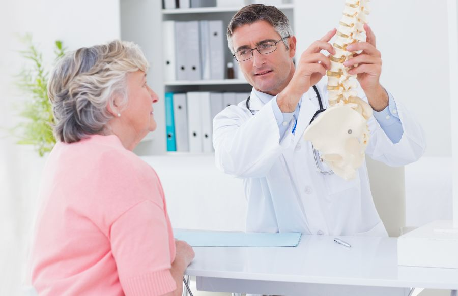 Chiropractor pointing to model spine with patient